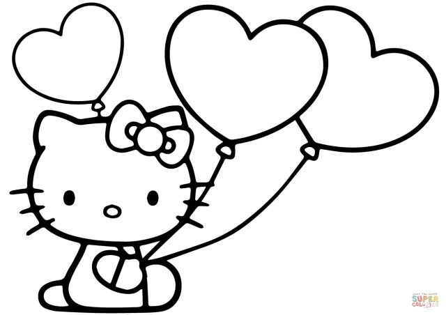 Balloon Coloring Pages Hello Kitty With Heart Balloons Coloring Page Free Printable