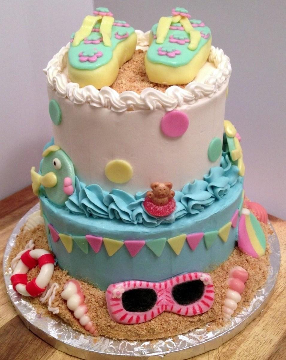 Fine Beach Themed Birthday Cakes 10 Beach Themed Birthday Cupcakes Funny Birthday Cards Online Elaedamsfinfo