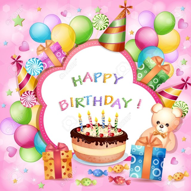 Birthday Cake And Balloons Birthday Card With Birthday Cake Balloons And Gifts Royalty Free