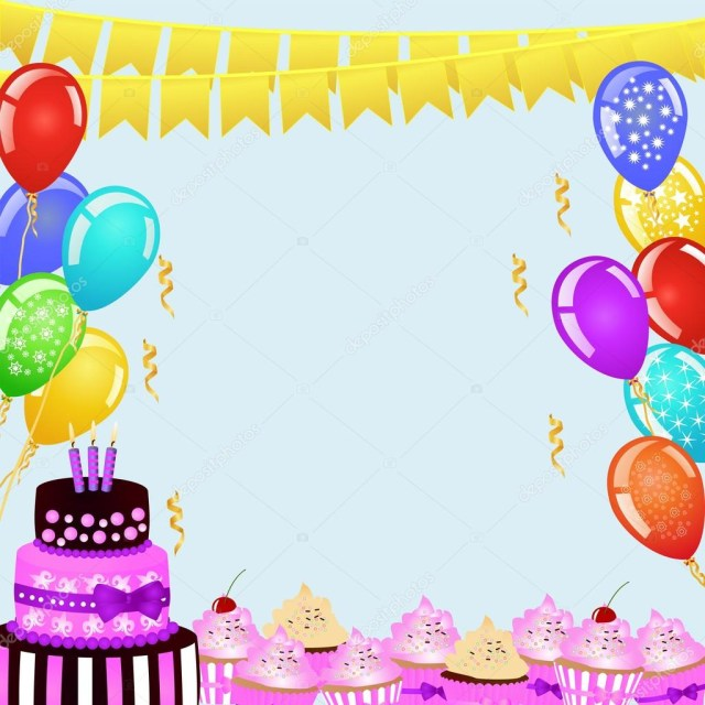 Birthday Cake And Balloons Birthday Party Background With Bunting Flags Balloons Birthday
