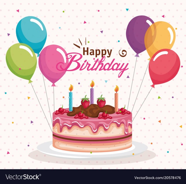 Birthday Cake And Balloons Happy Birthday Cake With Balloons Air Celebration Vector Image