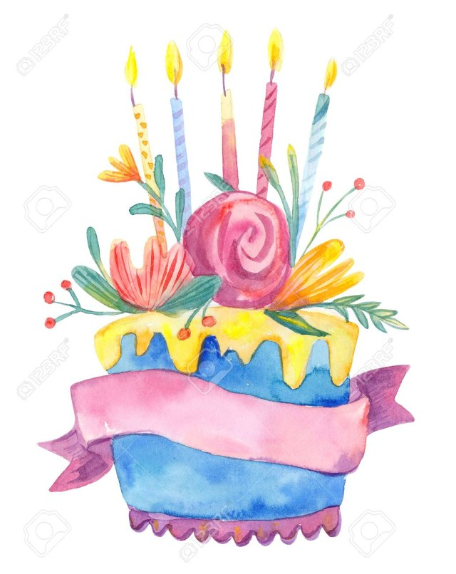 Birthday Cake Flowers Watercolor Birthday Cake With Flowers And Candles Isolated On