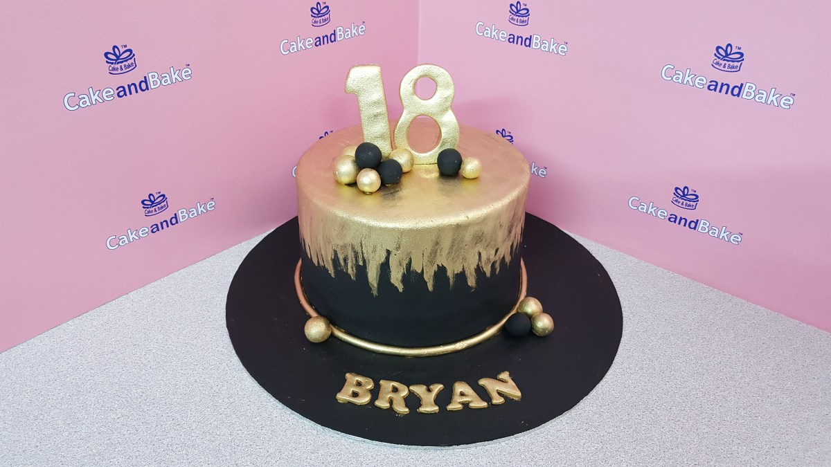 Swell Black And Gold Birthday Cake Black Gold 18Th Birthday Cake And Funny Birthday Cards Online Alyptdamsfinfo