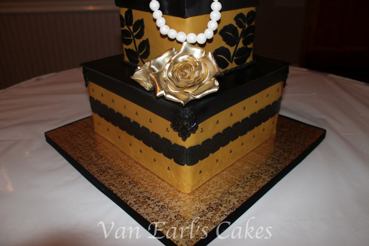Cool Black And Gold Birthday Cake Van Earls Cakes 50Th Gold And Black Funny Birthday Cards Online Overcheapnameinfo