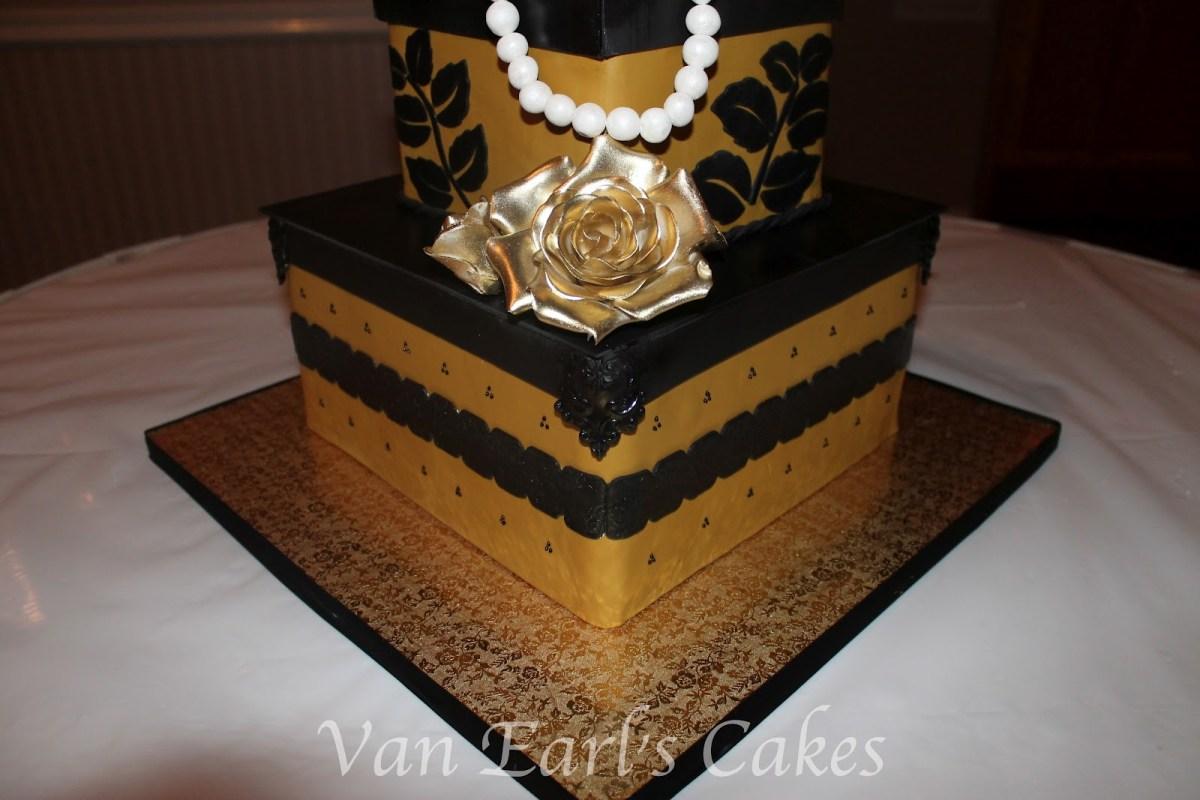 Prime Black And Gold Birthday Cake Van Earls Cakes 50Th Gold And Black Funny Birthday Cards Online Inifofree Goldxyz