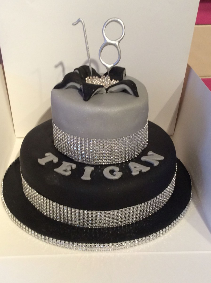 Miraculous Black Birthday Cake 18Th Birthday Cake Black Silver And Bling Funny Birthday Cards Online Elaedamsfinfo