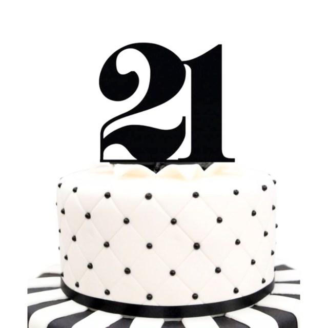Black Birthday Cake Acrylic Number 21 Black Birthday Cake Topper Party Cupcake Fondant