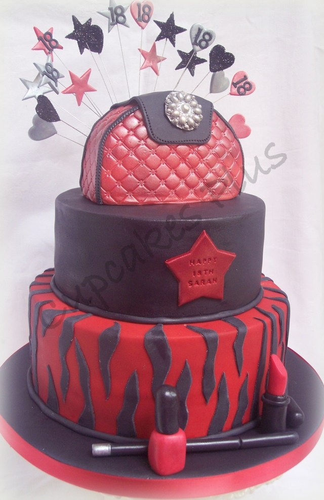 Black Birthday Cake Red And Black 18th Birthday Cake Cakecentral