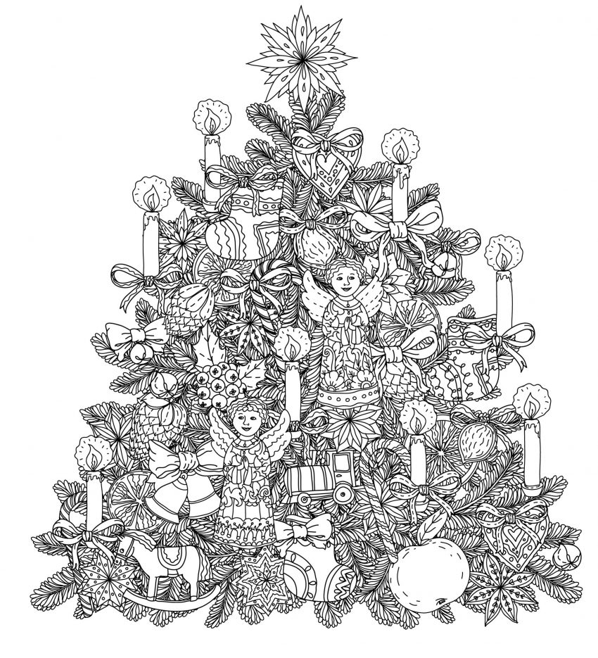 Christmas Tree Coloring Page Free Blank Christmas Tree