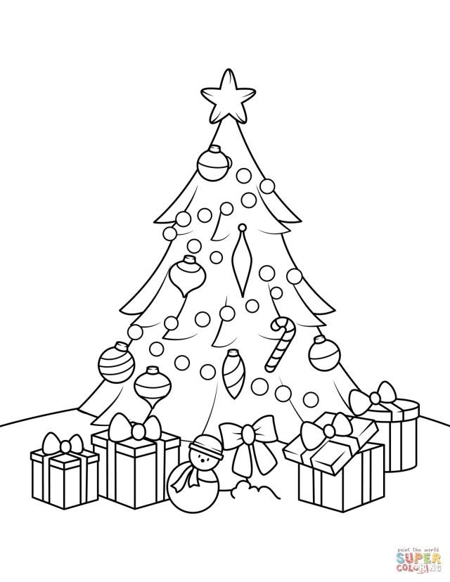 Christmas Tree Coloring Page Free Christmas Tree Coloring Pages With Presents Page Free Printable