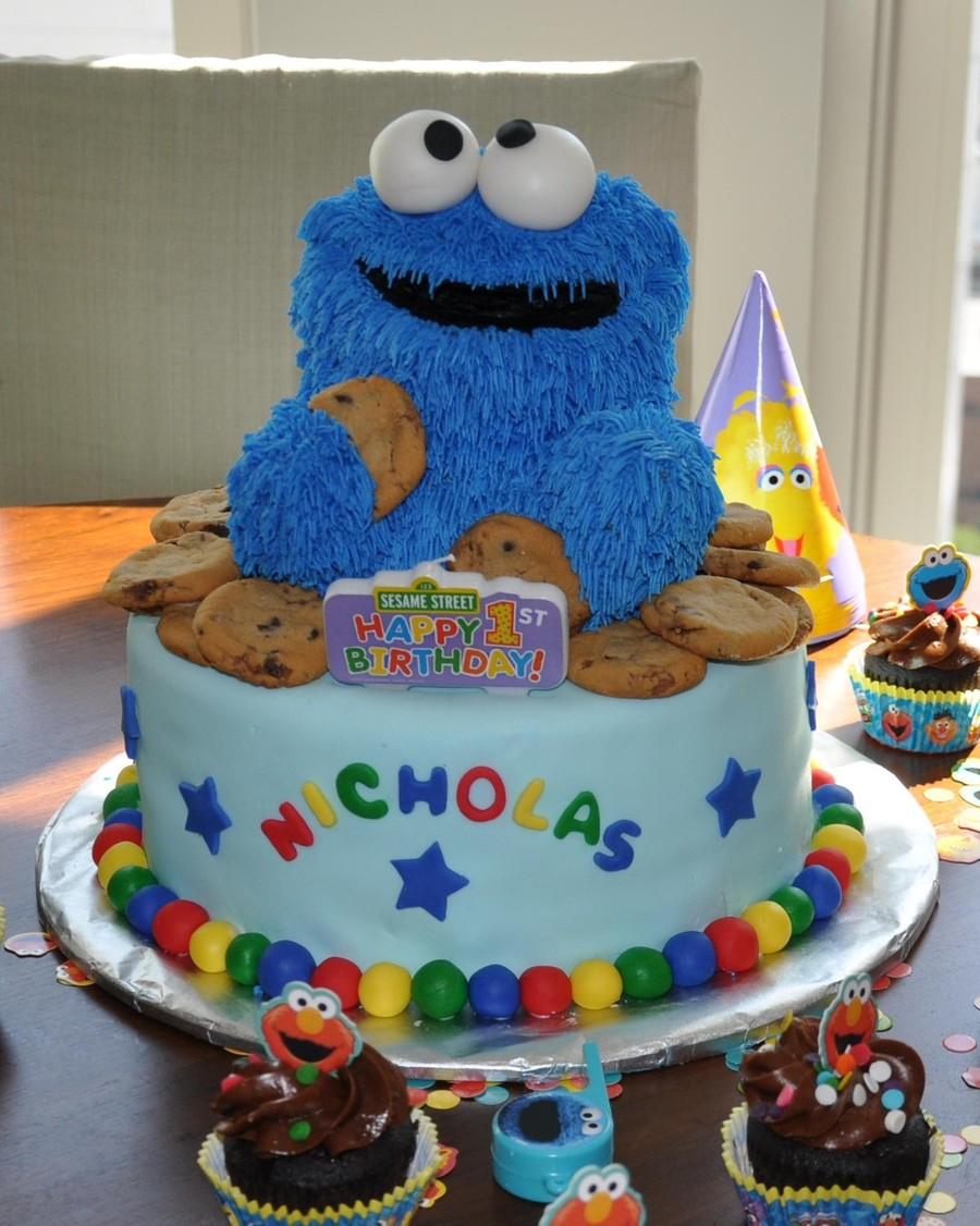 Pleasant Cookie Birthday Cake Cookie Monster First Birthday Cake Funny Birthday Cards Online Necthendildamsfinfo