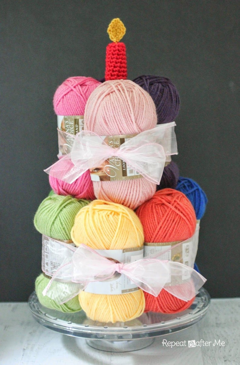 Crochet Birthday Cake Yarn With A Candle Knitting The