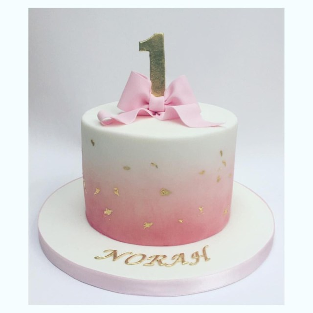 Cute Birthday Cakes For Girl Simple And Beautiful Pink Fading Into White Coloured Icing With Bow