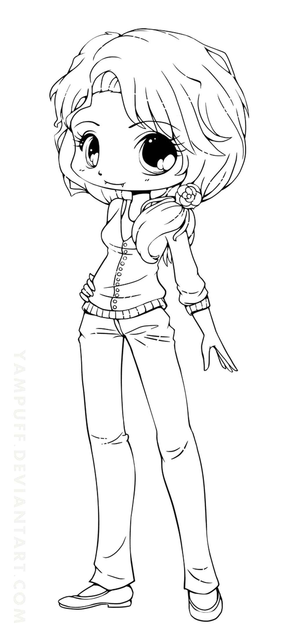 - Cute Girl Coloring Pages Chibi Anime Girl Coloring Pages Simple