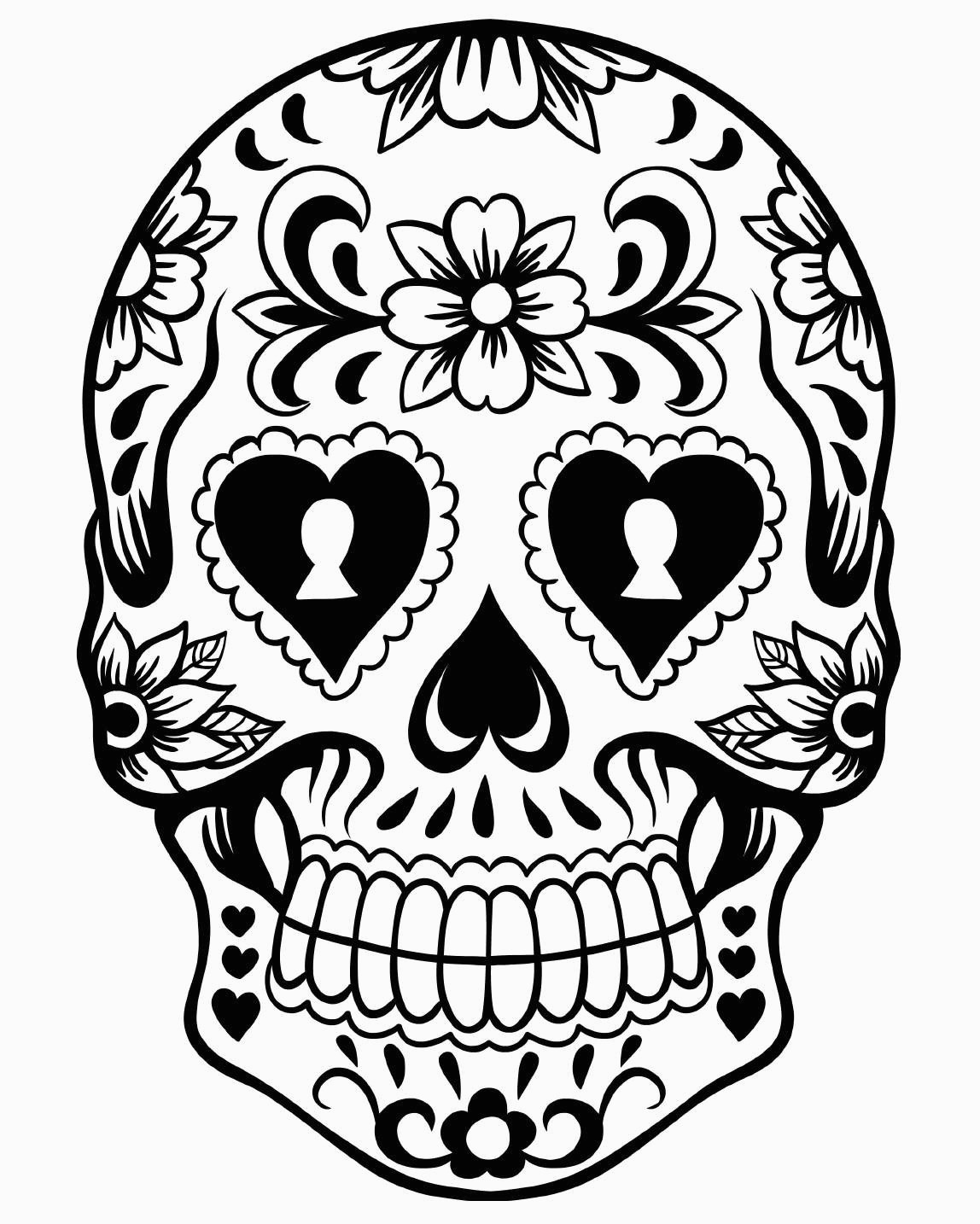 Day Of The Dead Coloring Pages Free Printable Day Of The Dead
