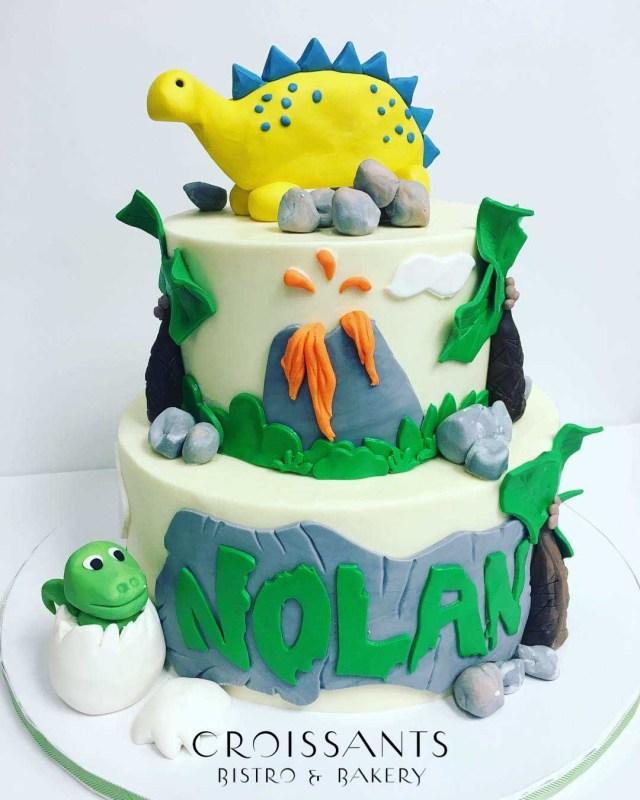 Dinosaur Birthday Cake 2 Tier Dinosaur Birthday Cake Croissants Myrtle Beach Bistro Bakery