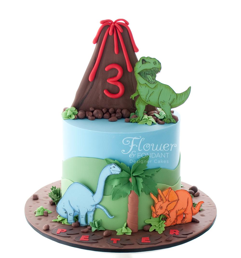 Amazing Dinosaur Birthday Cake Volcano Dinosaur Birthday Cake Flower Personalised Birthday Cards Veneteletsinfo