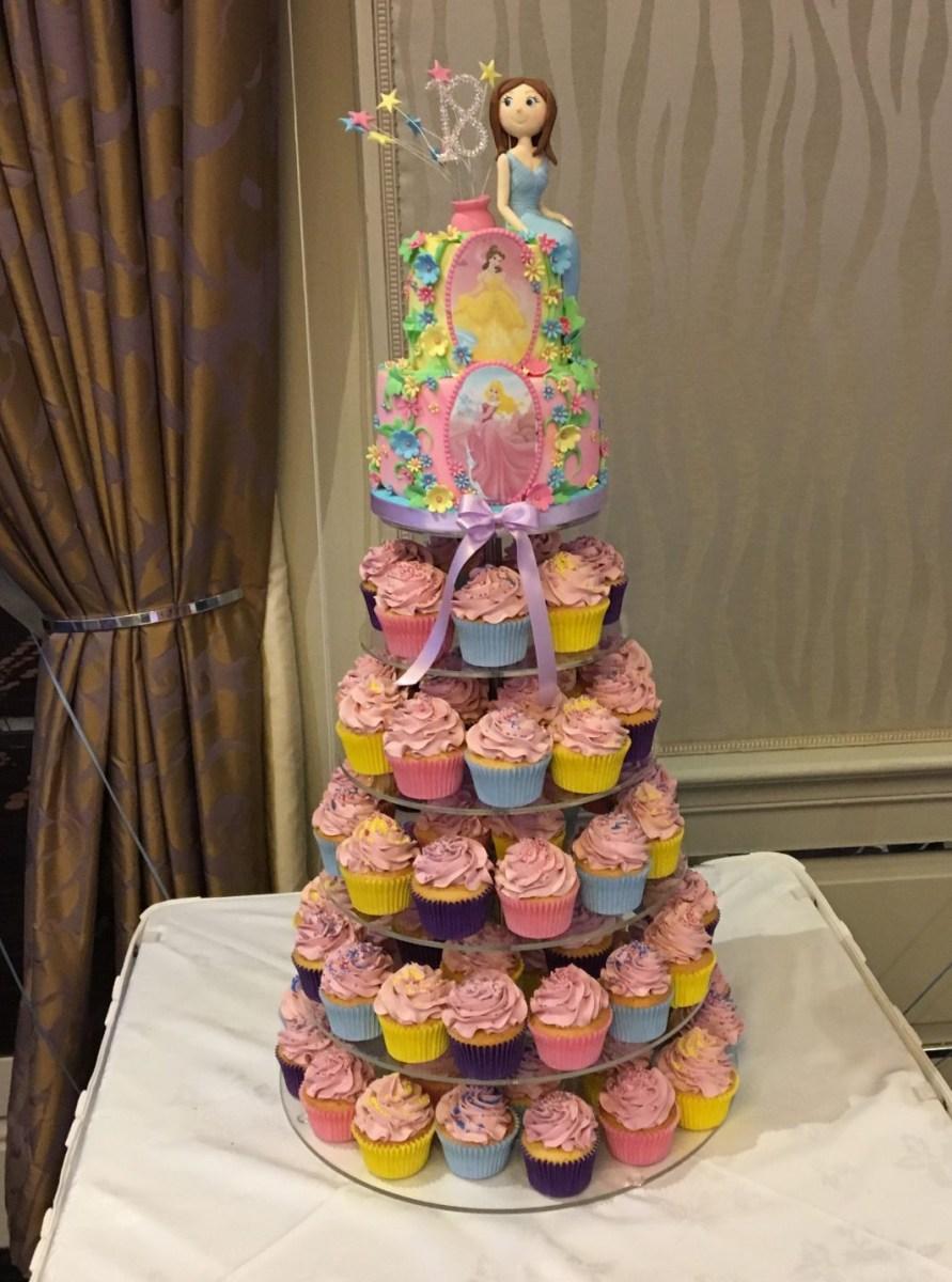 Stupendous Disney Princess Birthday Cakes Disney Princess Cupcake Tower 18Th Personalised Birthday Cards Rectzonderlifede