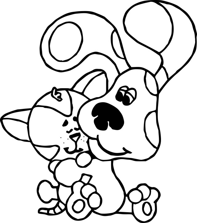 Dog And Cat Coloring Pages Blues Clues Dog And Cat Coloring Page Wecoloringpage