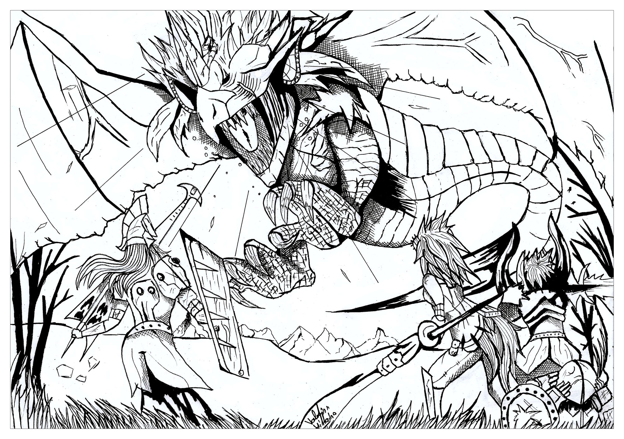 25 Marvelous Photo Of Dragon Coloring Pages For Adults Birijusrhbirijus: Coloring Pages Dragons Hunter At Baymontmadison.com