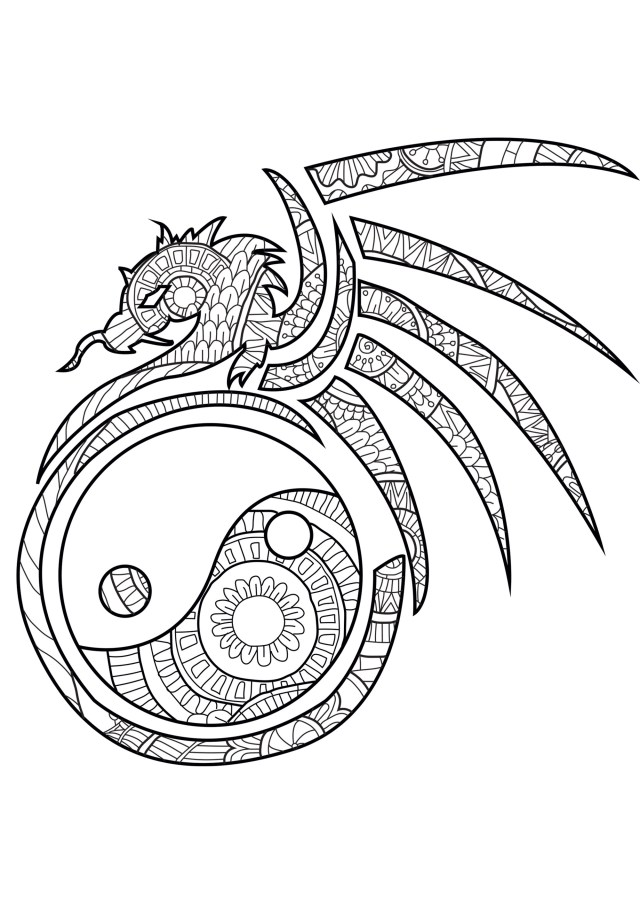 Dragon Coloring Pages For Adults The Spiritual Dragon Dragons Adult Coloring Pages
