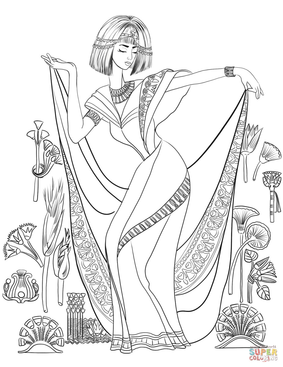 Egyptian Coloring Pages Egyptian Woman In A Traditional Dress Coloring Page Free Printable