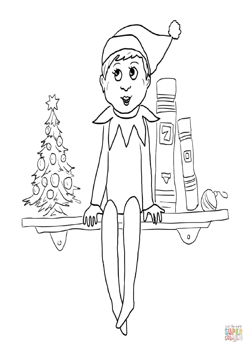 Christmas Elf On The Shelf Coloring Pages.Elf On The Shelf Coloring Pages Christmas Elf On The Shelf