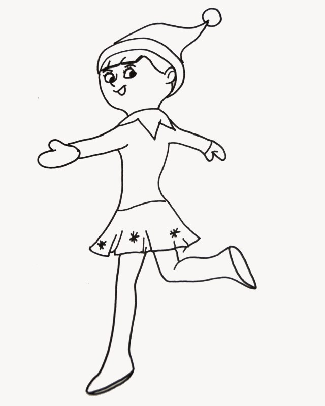 Elf On The Shelf Coloring Pages Elf On The Shelf Coloring Pages Free Printable Coloring Girl Elf The