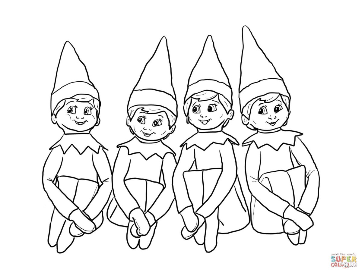 Elf On The Shelf Coloring Pages Elves On The Shelf Coloring Page