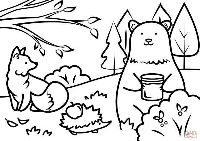 Fall Coloring Pages For Kids Autumn Animals Coloring Page Free Printable Coloring Pages