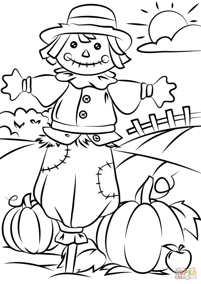 Fall Coloring Pages For Kids Autumn Scene With Scarecrow Coloring Page Free Printable Coloring