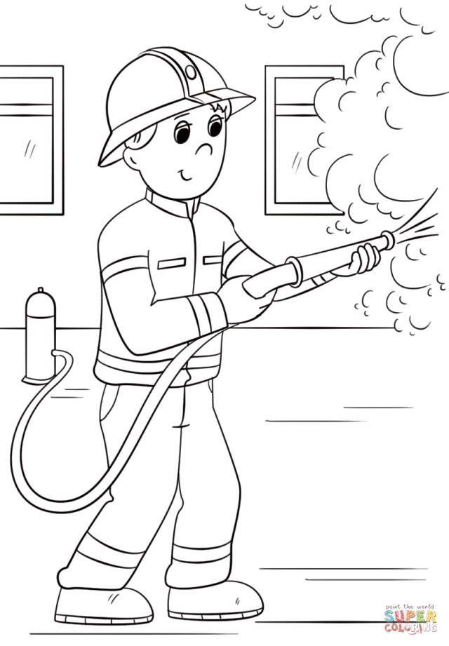 Firefighter Coloring Pages Cartoon Firefighter Coloring Page Free Printable Coloring Pages
