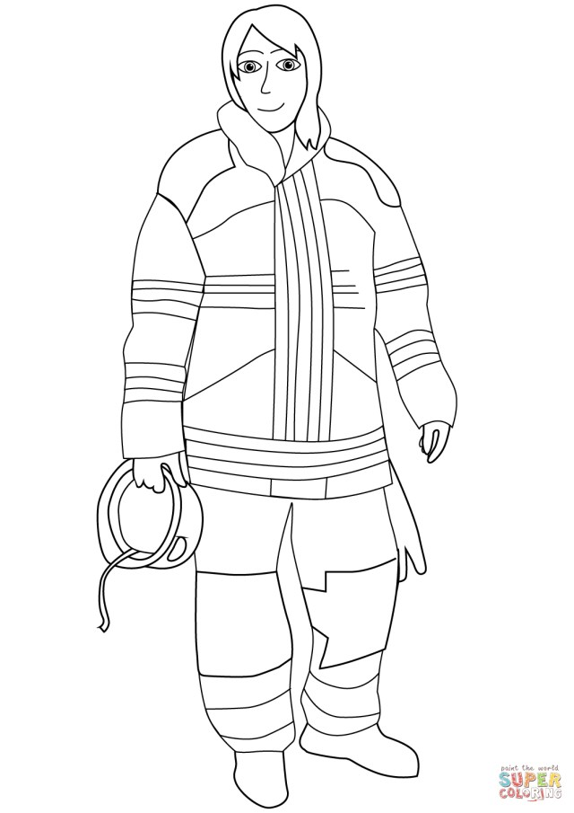 Firefighter Coloring Pages Female Firefighter Coloring Page Free Printable Coloring Pages