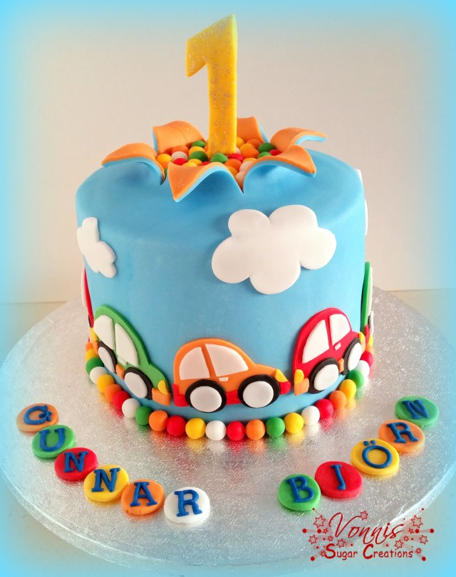 First Birthday Cake Boy Cars Colorful Explosion Auto Torte