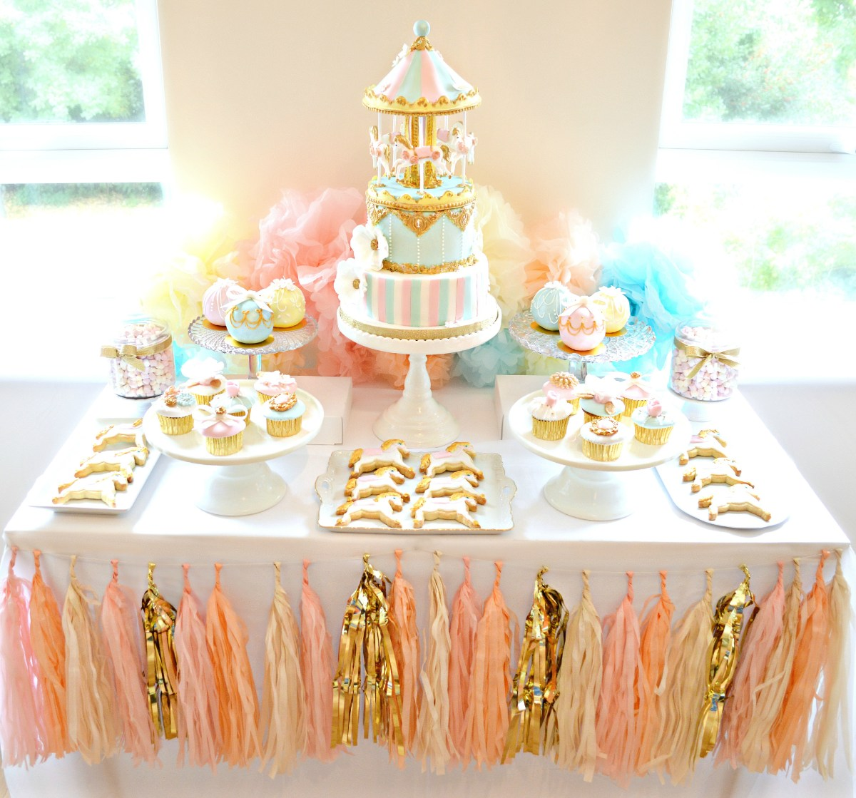 Marvelous First Birthday Cakes Pink Blue And Gold Carousel Cake Table First Funny Birthday Cards Online Overcheapnameinfo