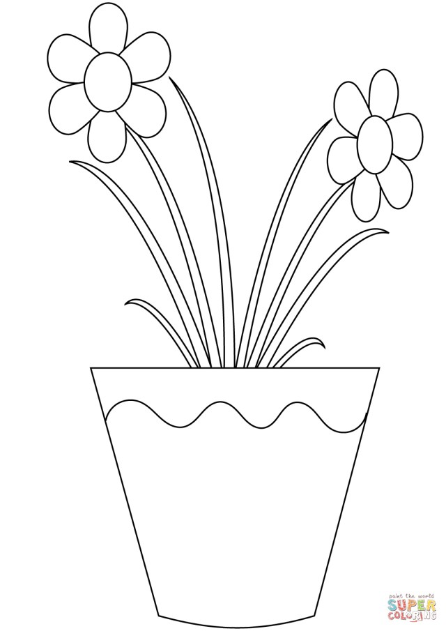 Flower Pot Coloring Page Flowers In A Pot Coloring Page Free Printable Coloring Pages