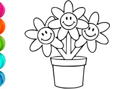 Flower Pot Coloring Page How To Draw And Color Flower Pot Cute Coloring Pages Video For