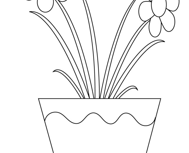 Flower Pot Coloring Page Shocking Flower Potng Page Depositphotos Stock Illustration