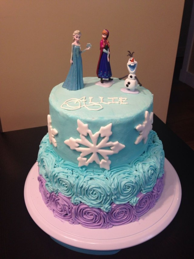 Frozen Birthday Cake Ideas Frozen Cake With Buttercream Icing Anna Elsa And Olaf Figurines