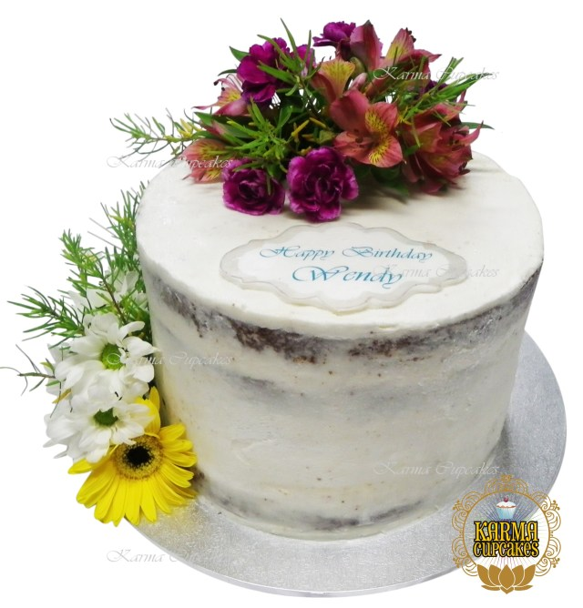 Happy Birthday Cake And Flowers Double Layered Naked Cake With Fresh Flowers