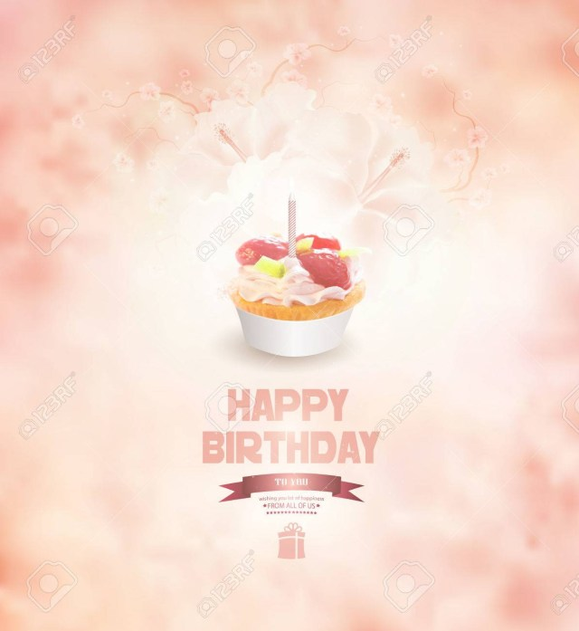 Happy Birthday Cake And Flowers Happy Birthday Background With Cake Flowers And Title Inscription