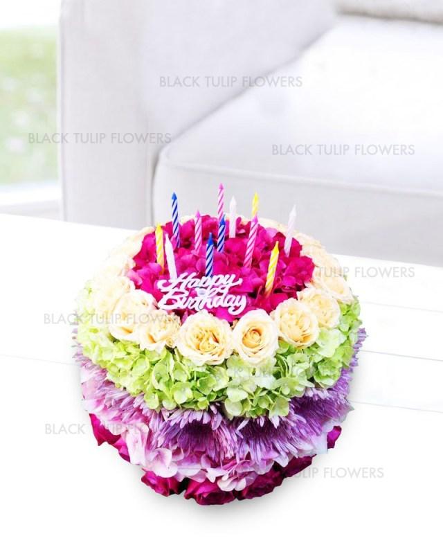 Happy Birthday Cake And Flowers Happy Birthday Cake Bouquet
