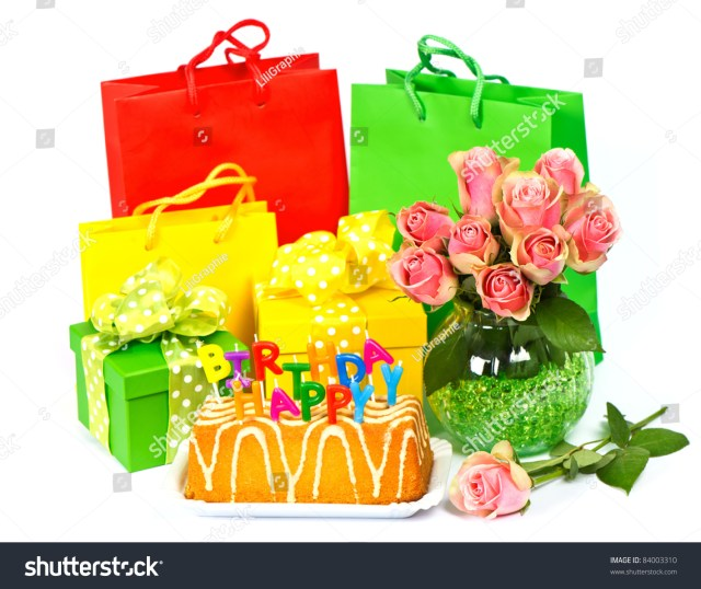 Happy Birthday Cake And Flowers Happy Birthday Cake Candles Flowers Gifts Stock Photo Edit Now