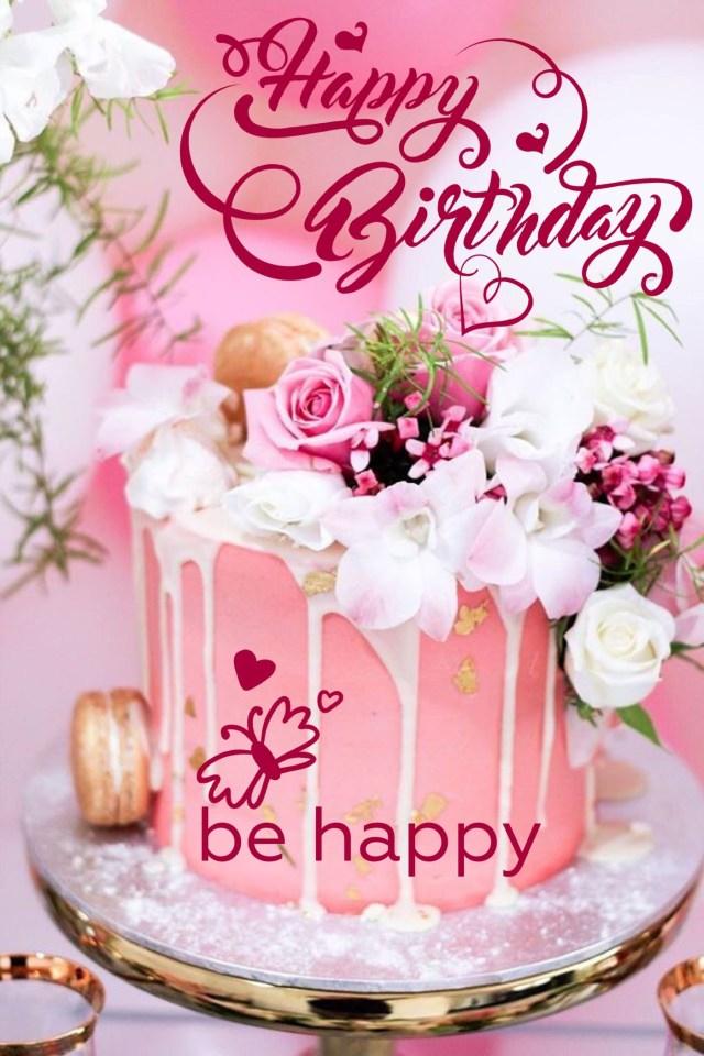 Happy Birthday Cake And Flowers Happy Birthday Happy Birthday Pinterest Happy Birthday