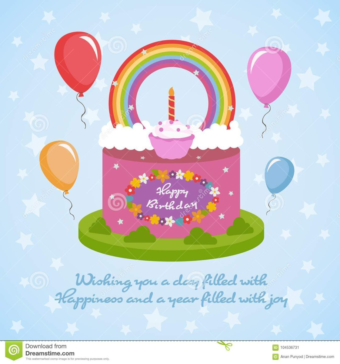 Happy Birthday Cake And Flowers Rainbow Clude Topping Balloon On