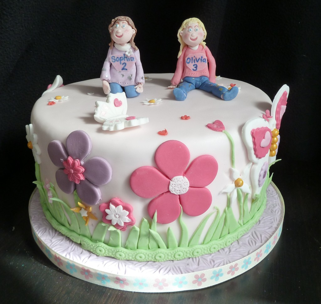 Remarkable Happy Birthday Twins Cake Twins Birthday Cake 6 Happy Birthday Personalised Birthday Cards Veneteletsinfo