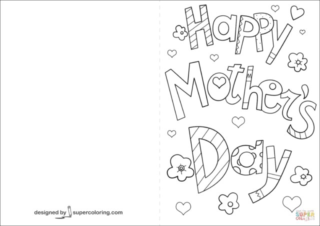 Happy Mothers Day Coloring Pages Happy Mothers Day Card Coloring Page Free Printable Coloring Pages
