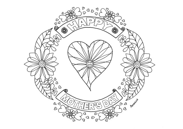 Happy Mothers Day Coloring Pages Mother S Day Heart Mothers Day Adult Coloring Pages