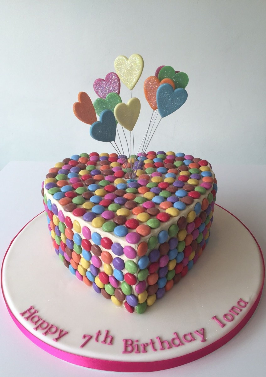 Magnificent Heart Birthday Cake Heart Shaped Girly Birthday Cake With Smarties Personalised Birthday Cards Beptaeletsinfo