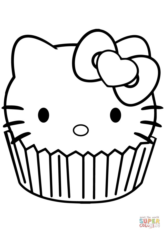 Hello Kitty Coloring Pages Hello Kitty Cupcake Coloring Page Free Printable Coloring Pages
